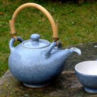 Čajová souprava modrá, kamenina
